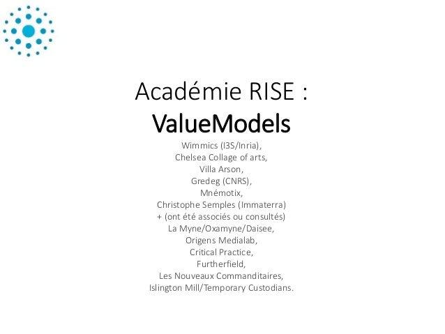 Académie RISE : ValueModels Wimmics (I3S/Inria), Chelsea Collage of arts, Villa Arson, Gredeg (CNRS), Mnémotix, Christophe...