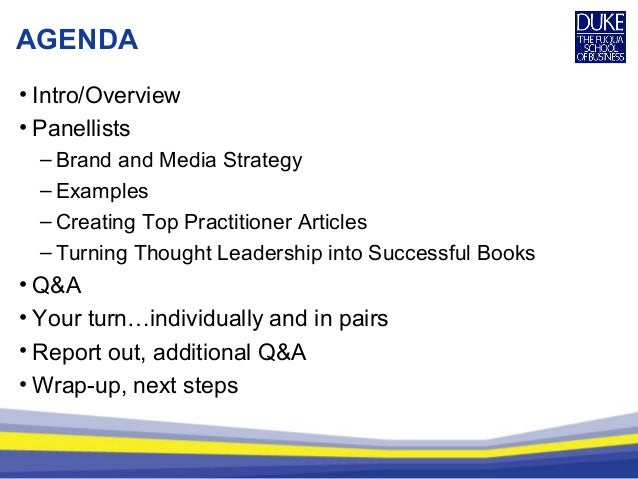AGENDA • Intro/Overview • Panellists – Brand and Media Strategy – Examples – Creating Top Practitioner Articles – Turning ...