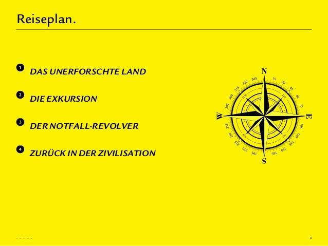 Reiseplan.  DAS UNERFORSCHTE LAND  DIE EXKURSION  DER NOTFALL-REVOLVER  ZURÜCK IN DER ZIVILISATION                        ...