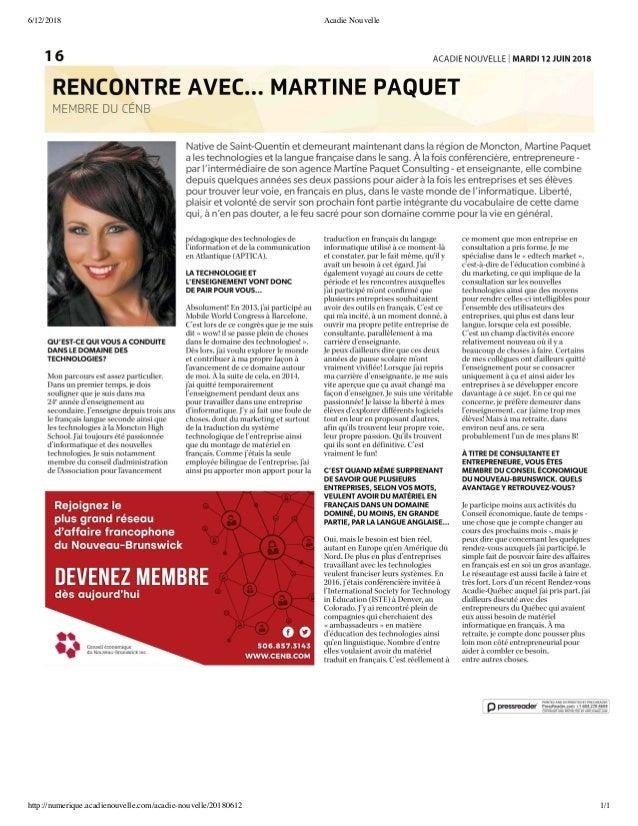 6/12/2018 Acadie Nouvelle http://numerique.acadienouvelle.com/acadie-nouvelle/20180612 1/1
