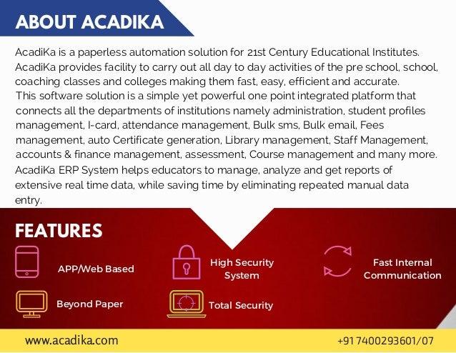 AcadiKa brochure : End to end school management solution  Slide 2