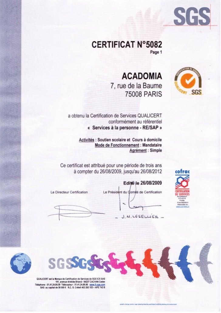 Acadomia, certificat Qualicert v4