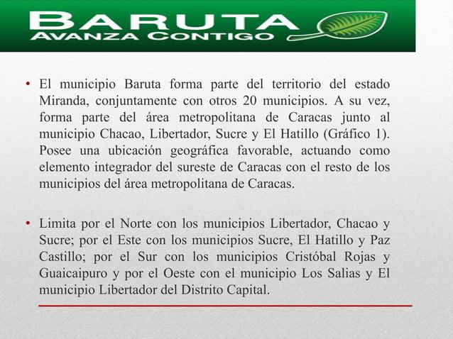 • Ubicación • El municipio Baruta forma parte del territorio del estado Miranda, conjuntamente con otros 20 municipios. A ...