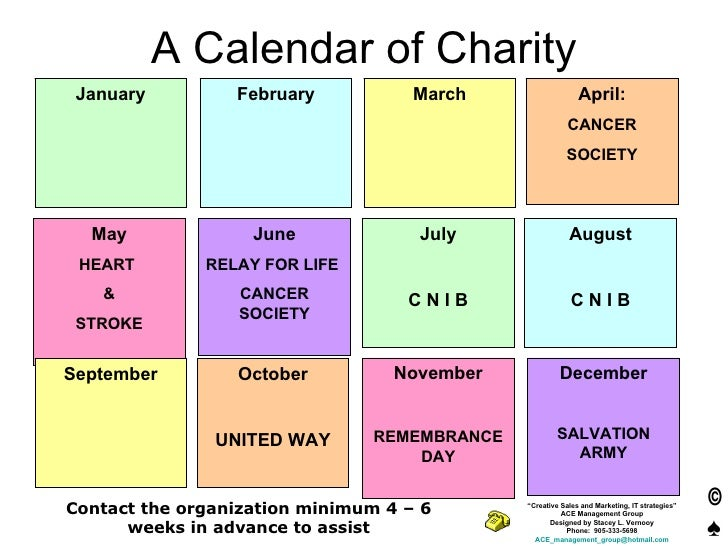 A Calendar of Charity January February March April: CANCER SOCIETY May HEART  & STROKE June RELAY FOR LIFE  CANCER SOCIETY...
