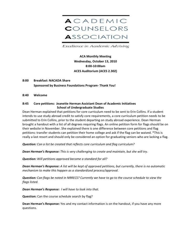 ACA Monthly Meeting<br />Wednesday, October 13, 2010<br />8:00-10:00am<br />ACES Auditorium (ACES 2.302)<br />8:00Breakfas...
