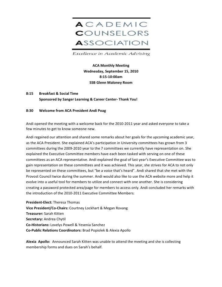 ACA Monthly Meeting<br />Wednesday, September 15, 2010<br />8:15-10:00am<br />SSB Glenn Maloney Room<br />8:15Breakfast & ...