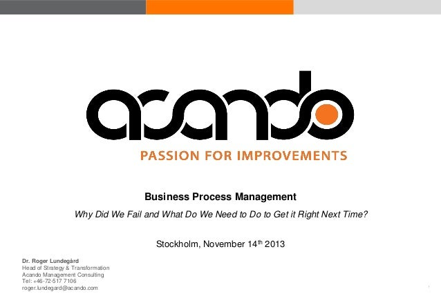 Business Process Management Why Did We Fail and What Do We Need to Do to Get it Right Next Time? Stockholm, November 14th ...