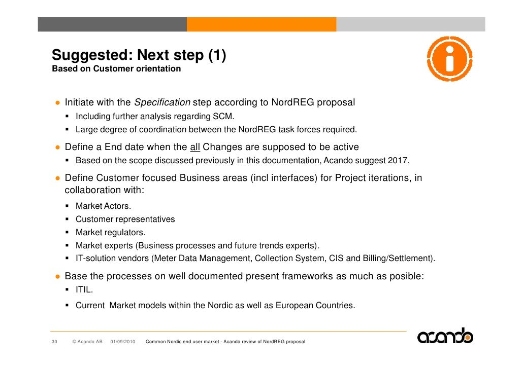 Suggested: Next step (1) Based on Customer orientation    ● Initiate with the Specification step according to NordREG prop...