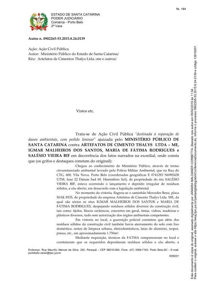 Decisão ação civil pública ajuizada pela 1ª Promotoria de Justiça da Comarca de Porto Bel