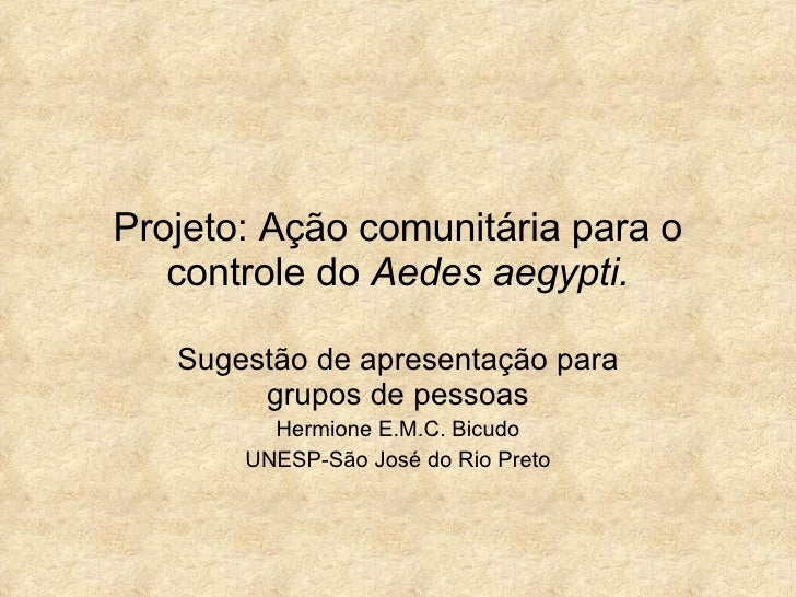 Projeto: Ação comunitária para o controle do  Aedes aegypti. Sugestão de apresentação para grupos de pessoas Hermione E.M....