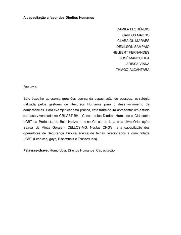 A capacitação a favor dos Direitos Humanos                                                              CAMILA FLORÊNCIO  ...