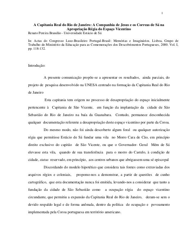 1  A Capitania Real do Rio de Janeiro: A Companhia de Jesus e os Correas de Sá na Apropriação Régia do Espaço Vicentino Re...