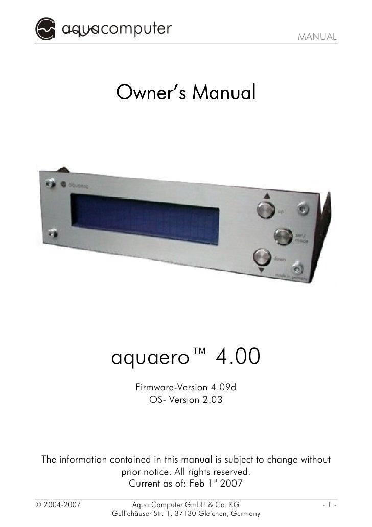 MANUAL                  Owner's Manual                 aquaero™ 4.00                        Firmware-Version 4.09d        ...