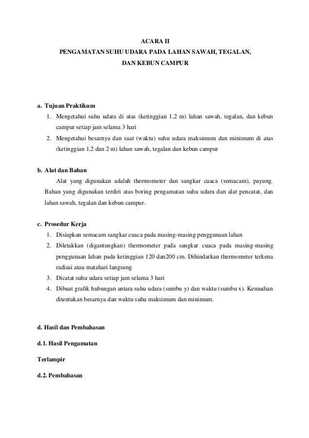 Laporan Praktikum Agroklimatologi