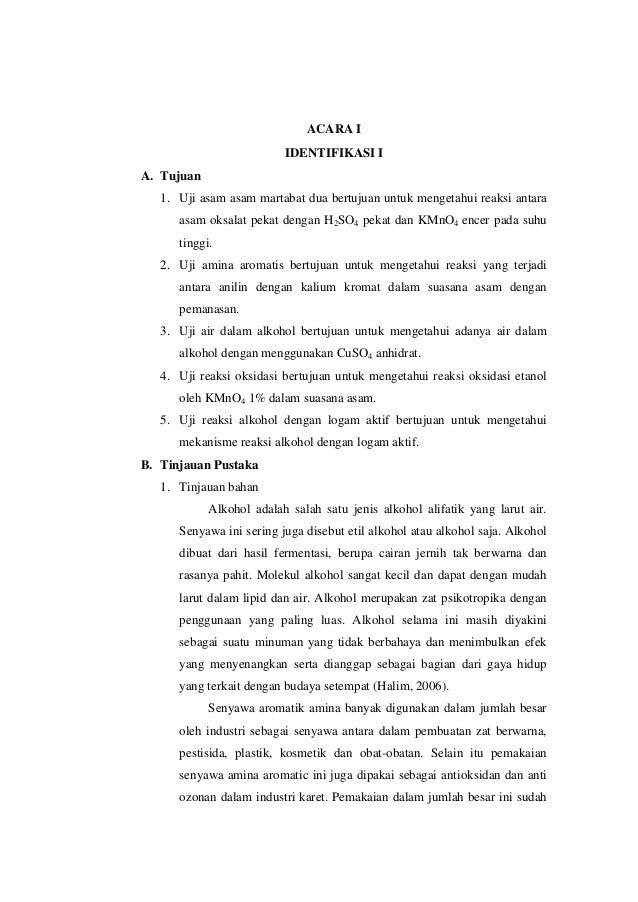 ACARA I IDENTIFIKASI I A. Tujuan 1. Uji asam asam martabat dua bertujuan untuk mengetahui reaksi antara asam oksalat pekat...