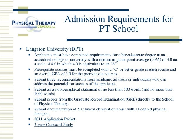 3-year Curriculum; 22. Admission Requirements for PT School ...