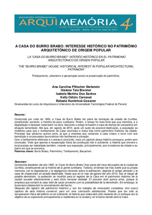 """A CASA DO BURRO BRABO: INTERESSE HISTÓRICO NO PATRIMÔNIO ARQUITETÔNICO DE ORIGEM POPULAR LA """"CASA DO BURRO BRABO"""": INTERÉS..."""
