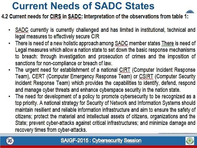 Current Needs of SADC States