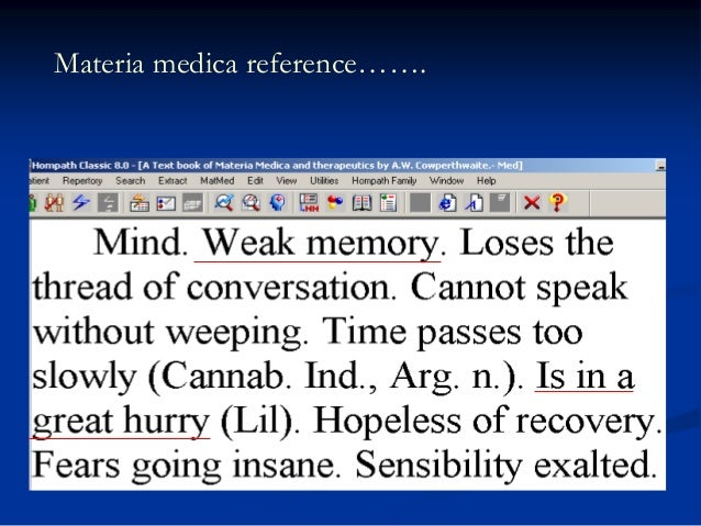 Materia medica reference…….