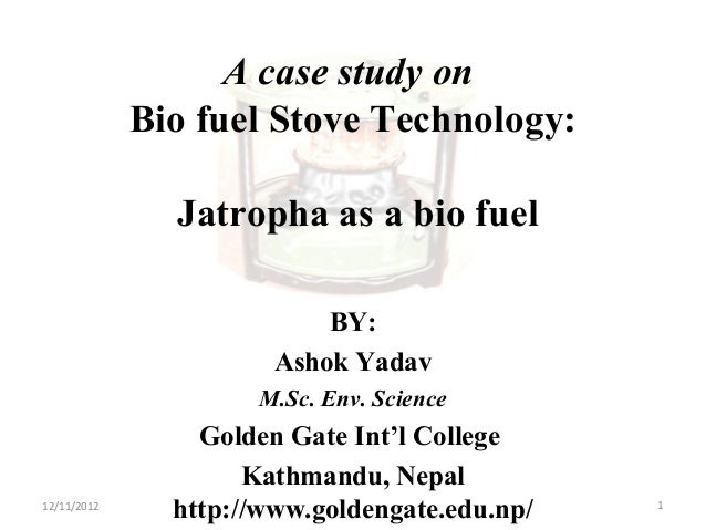 A case study on Bio fuel Stove Technology: Jatropha as a bio fuel BY: Ashok Yadav M.Sc. Env. Science Golden Gate Int'l Col...