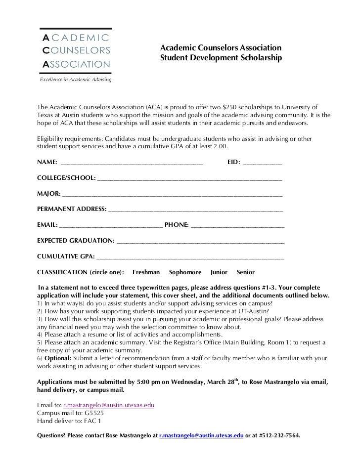 Academic Counselors Association                                               Student Development Scholarship             ...