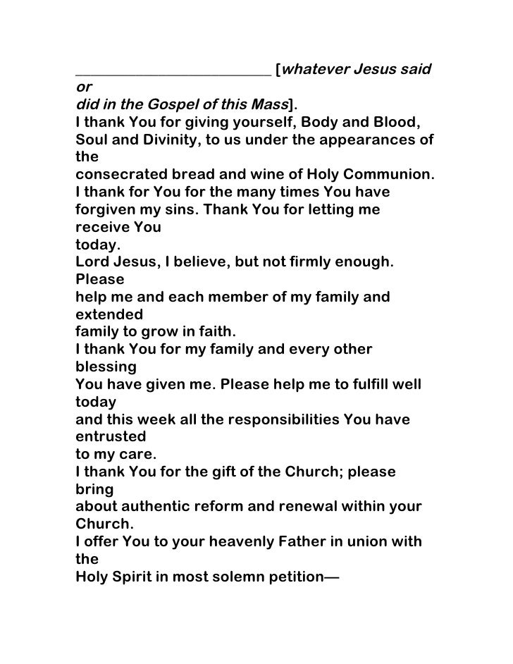 Examples List on new topic first communion speech child