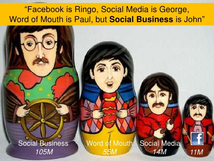 """""""Facebook is Ringo, Social Media is George, <br />Word of Mouth is Paul, but Social Business is John""""<br />Social Business..."""