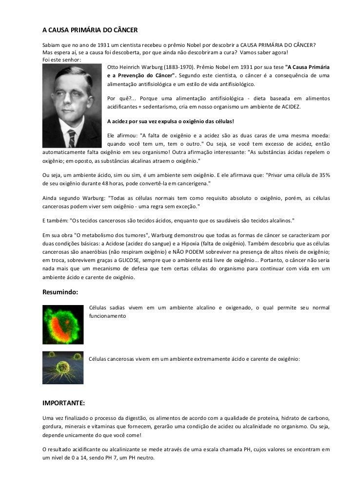 A CAUSA PRIMÁRIA DO CÂNCERSabiam que no ano de 1931 um cientista recebeu o prêmio Nobel por descobrir a CAUSA PRIMÁRIA DO ...