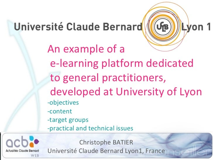 An example of a  e-learning platform dedicated  to general practitioners,  developed at University of Lyon -objectives -co...