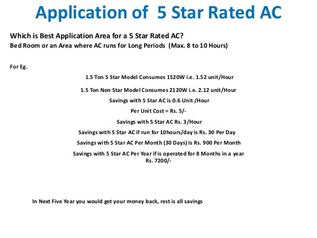 Application of 5 Star Rated ACWhich is Best Application Area for a 5 Star Rated AC?Bed Room or an Area where AC runs for L...