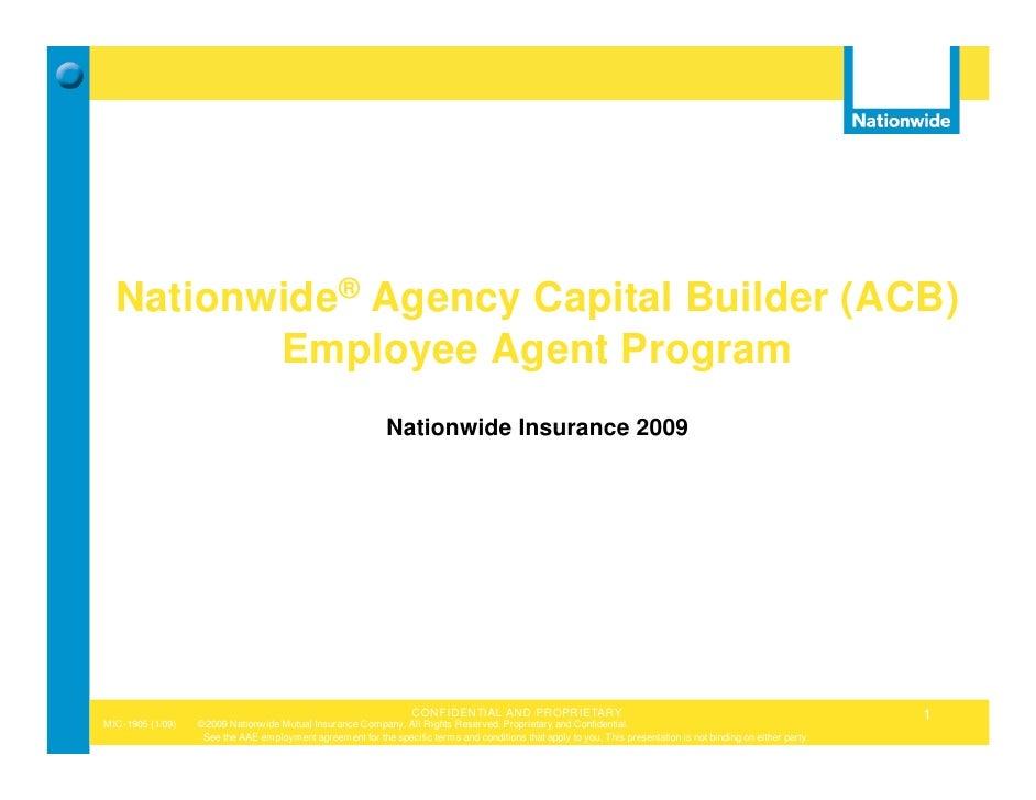 Nationwide® Agency Capital Builder (ACB)          Employee Agent Program                                                  ...