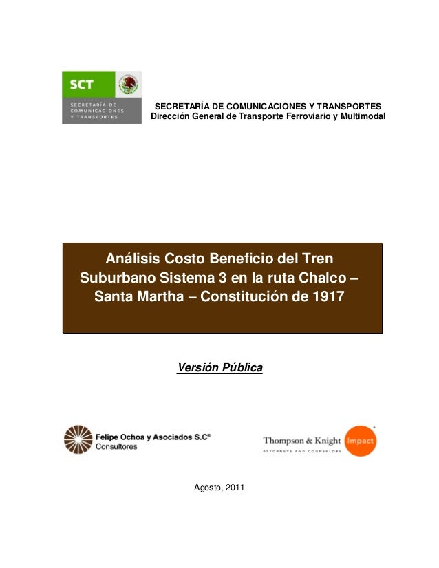Análisis Costo Beneficio Tren Suburbano Sistema 3