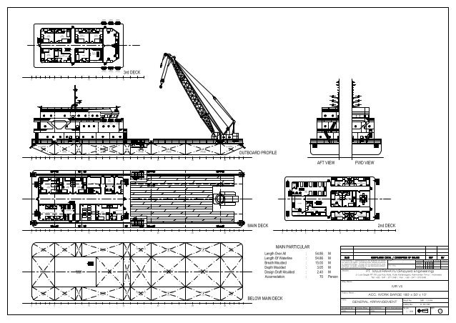 General Arrangement - Crane Barge (Accomodation Crane Barge) 180 Feet