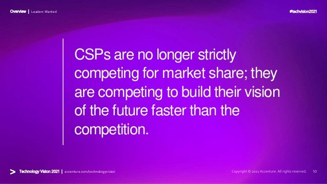 #techvision2021 Technology Vision 2021 | accenture.com/technologyvision Overview | Leaders Wanted CSPs are no longer stric...