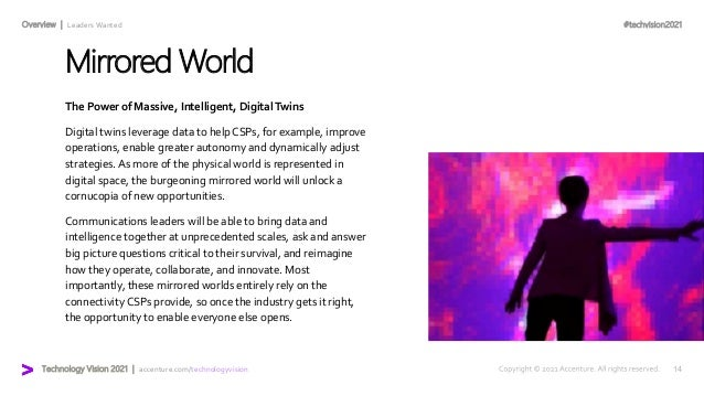 #techvision2021 Technology Vision 2021 | accenture.com/technologyvision Overview | Leaders Wanted Mirrored World The Power...