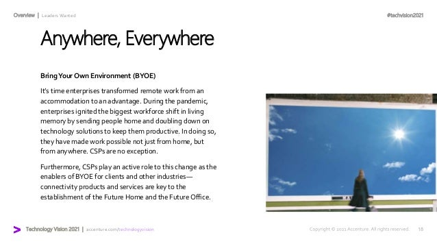 #techvision2021 Technology Vision 2021 | accenture.com/technologyvision Overview | Leaders Wanted Anywhere, Everywhere Bri...