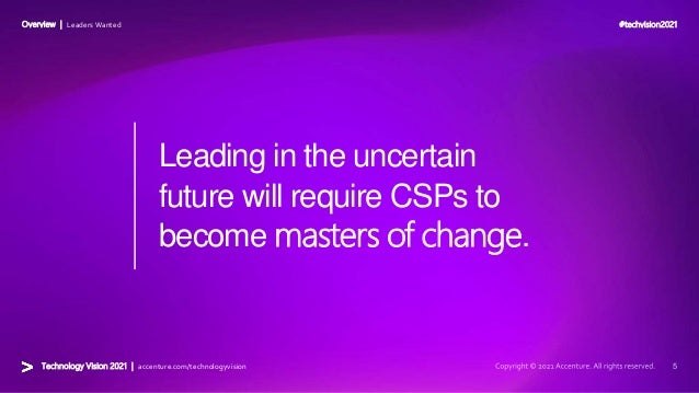 #techvision2021 Technology Vision 2021 | accenture.com/technologyvision Overview | Leaders Wanted Leading in the uncertain...