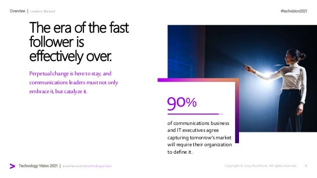 #techvision2021 Technology Vision 2021 | accenture.com/technologyvision Overview | Leaders Wanted 90% of communications bu...