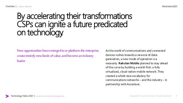 #techvision2021 Technology Vision 2021 | accenture.com/technologyvision Overview | Leaders Wanted Newopportunitieshaveemer...