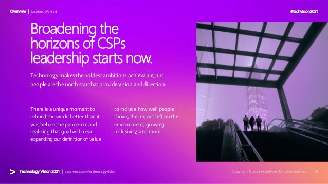 #techvision2021 Technology Vision 2021 | accenture.com/technologyvision Overview | Leaders Wanted Technologymakestheboldes...