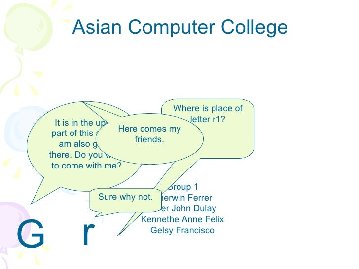 Asian Computer College Group 1 Sherwin Ferrer Alver John Dulay Kennethe Anne Felix Gelsy Francisco G r a m m a r Where is ...