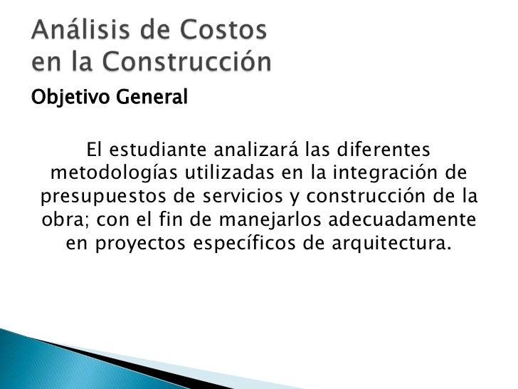 An lisis de costos en la construcci n parte 1 for Servicios de construccion