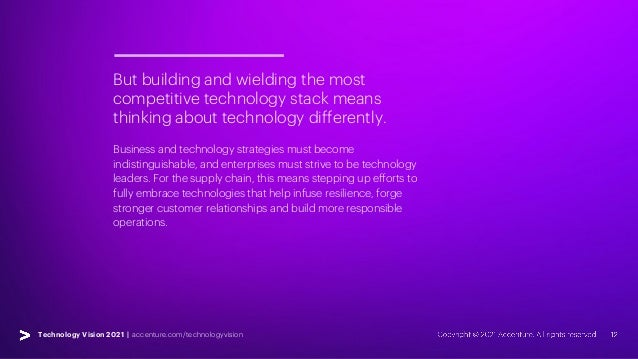 Technology Vision 2021 | accenture.com/technologyvision But building and wielding the most competitive technology stack me...