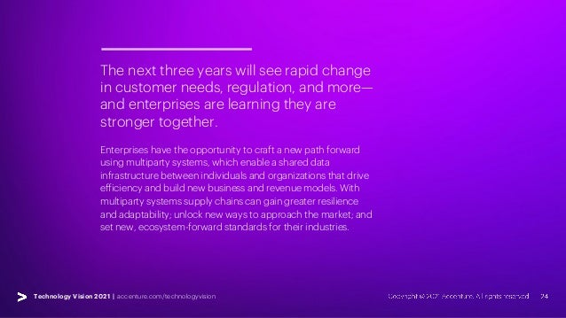 Technology Vision 2021 | accenture.com/technologyvision The next three years will see rapid change in customer needs, regu...