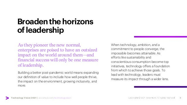 Technology Vision 2021 | accenture.com/technologyvision Broadenthehorizons ofleadership When technology, ambition, and a c...