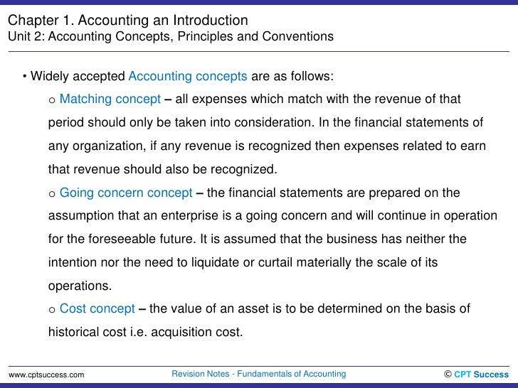 accounting concepts and conventions notes