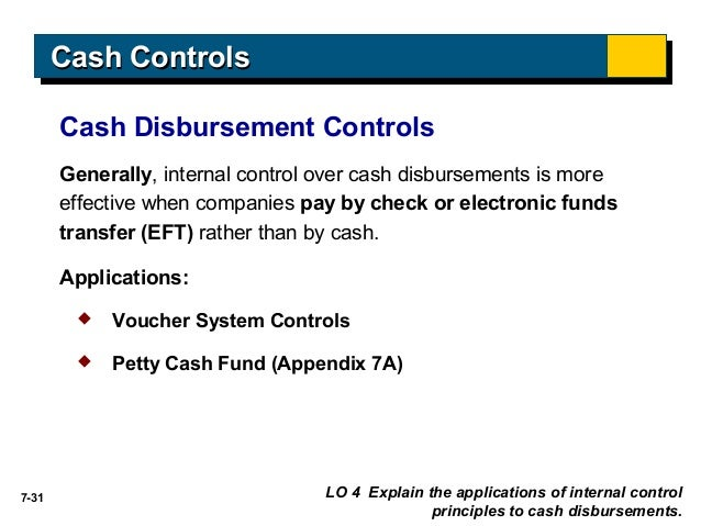 cashdisbursement receiptcontrols Control of cash receipts internal control of cash receipts ensures that cash received is properly recorded and deposited cash receipts can arise from transactions.