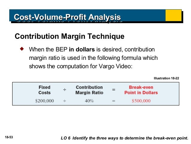 cost volume profit analysis Video created by university of illinois at urbana-champaign for the course managerial accounting: cost behaviors, systems, and analysis cost-volume-profit (cvp) analysis is the tool that managers can use to better understand the answers to.