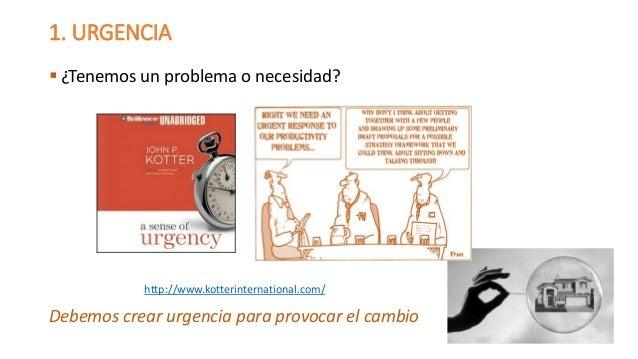 1. URGENCIA  ¿Tenemos un problema o necesidad?  Debemos crear urgencia para provocar el cambio  http://www.kotterinternat...