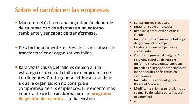 Mantener el éxito en una organización depende de su capacidad de adaptarse a un entorno cambiante y ser capaz de transfor...